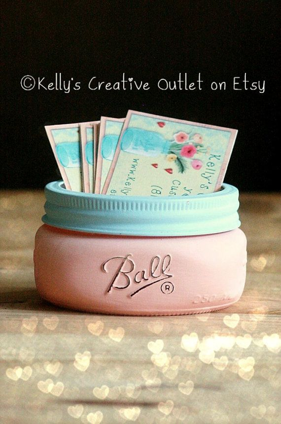 Business Card Holder - Office Decor - Mason jar - Card Holder for office - Supplies - Shabby Chic Decor - Cottage Decor - Gift for her