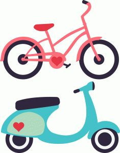 travel icons bike & vespa-------------------------I think I'm in love with this shape from the Silhouette Online Store!