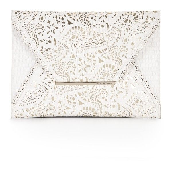 Laser Cut Leather Envelope Clutch - stylish, white purse with intricate laser cut pattern detail
