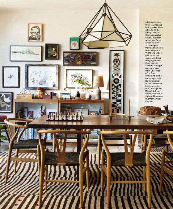 designer pamela shamshiri for house beautiful: Wishbone Chairs, Decor, Dining Rooms, House Beautiful, Lights Fixtures, Interiors, Galleries Wall, Rugs, Design