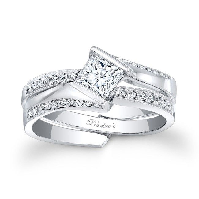 Fabulous Princess Cut Bridal Set SW Stunning and unique this interlocking diamond wedding set exudes