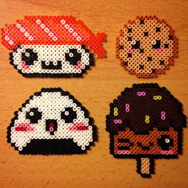 Kawaii food hama beads by  evichuchan