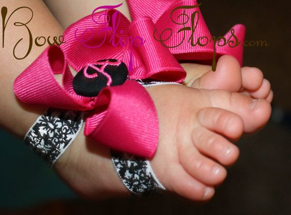 Itty Bitty Bow Flops, Pesonalized Barefoot Flip Flops Sandals For Baby , Toddler , choose your colors , ribbon