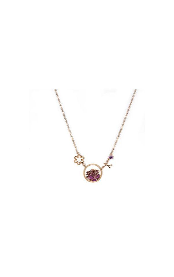 Catenina e ciondoli in argento rodiato e smalto viola in bagno d'oro rosa,  la felicità è amore per la vita.