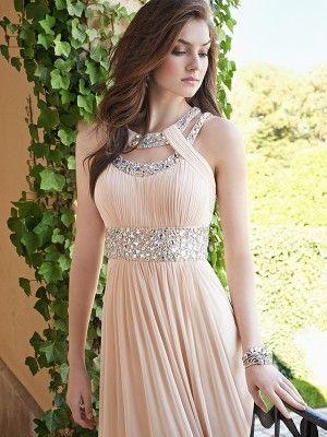 A-Line/Princess Bateau Beading Sleeveless Chiffon Floor-Length Dresses - Long Prom Dresses - Prom Dresses
