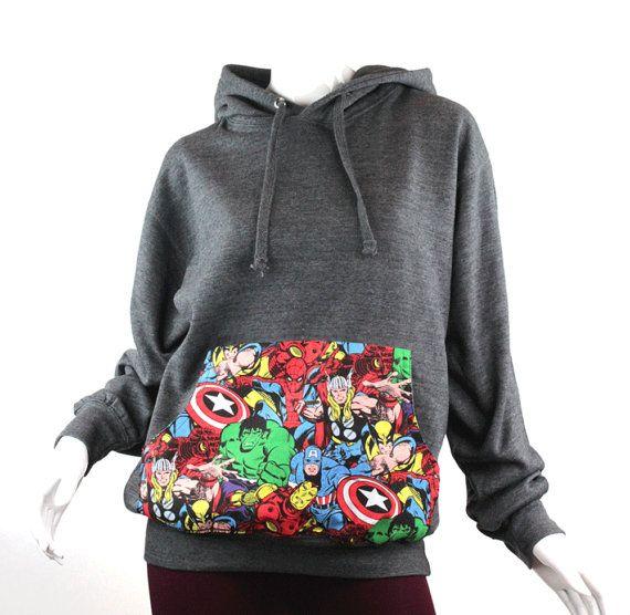 Hoodie bestaunen, Super Hero Pocket Hoodie, Marvel Comic gepatchte Unisex Hoodie, Avengers Hoodie, Marvel Pocket Hoodie, Marvel Shirt
