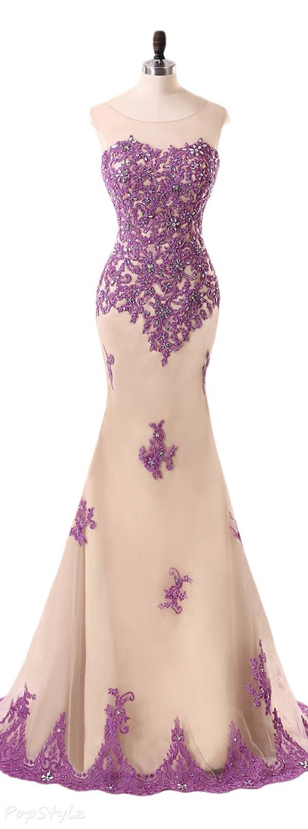 Sunvary Champagne & Purple Lace Mermaid Gown