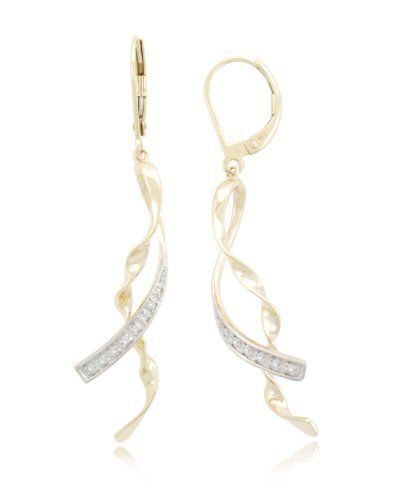 10k Yellow Gold Ribbon Diamond Earrings (0.05 cttw, I-J Color, I2-I3 Clarity) Amazon Curated Collection. Save 49 Off!. $178.00. Fashion Style Good For Everyday Wear. The total diamond carat weight listed is approximate. Variances may be up to .05 carats.. Made in China