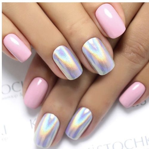 Holographic nails  | pink, nails and rainbow