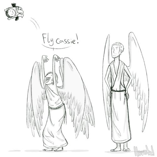 Flying Lessons By: llorstel - Baby Cas with Gabriel and Balthazar. I'm sorry, but this is great.