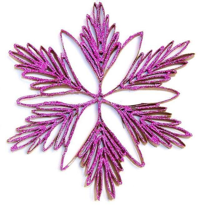 Sparkly Snowflake Toilet Paper Roll Ornament | AllFreePaperCrafts.com