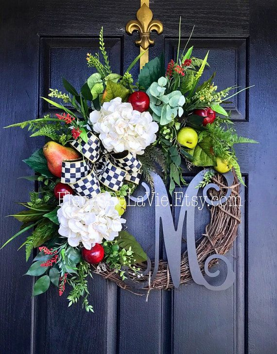 New item! MacKenzie Childs Inspired Wreath, Fall Front Door Wreaths, Fall Wreaths, Courtly Chexk, Grapevine Wreath, House Warming Gift