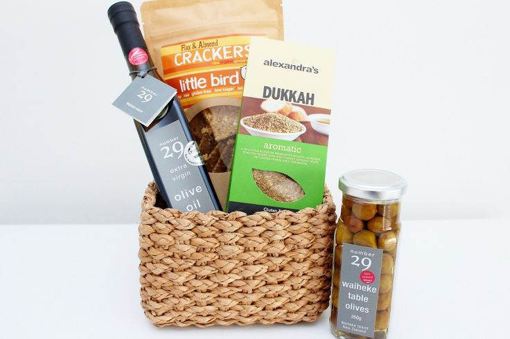 New Zealand made, premium gourmet foods: Waiheke Olive Oil and Table Olives; Flaxseed Crackers; Dukkah - a gift hamper for him and her. Gluten Free.