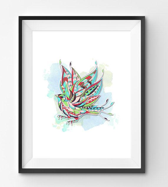Colorful Bird Art Bird Wall Art Mosaic Bird Print Animal
