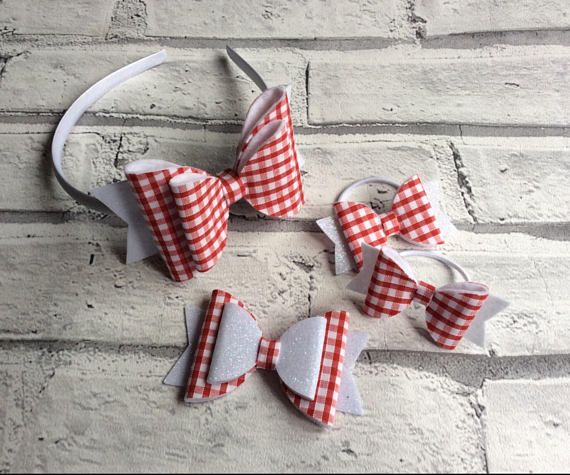 Check out this item in my Etsy shop https://www.etsy.com/uk/listing/539062200/school-bow-sets-gingham-bows-gingham