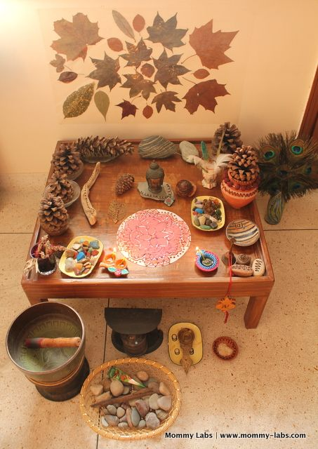 Nature Table Display. the boys have a fast-growing nature collection from hikes that we take them on...they love to show off their sticks + rocks to people that come over. this is a cute display idea...