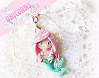 Baby zeemeermin charme, schattige Kawaii zeemeermin sieraden, Polymer Clay…