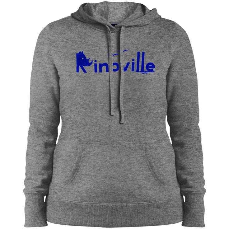 Rinoville Blue Logo Ladies Pullover Hooded Sweatshirt