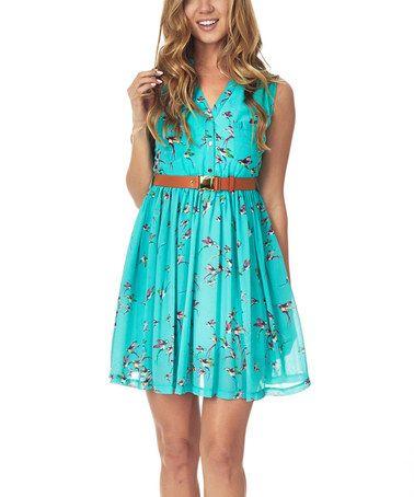 Love this Emerald Bird Belted Shirt Dress by Pinkblush on #zulily! #zulilyfinds