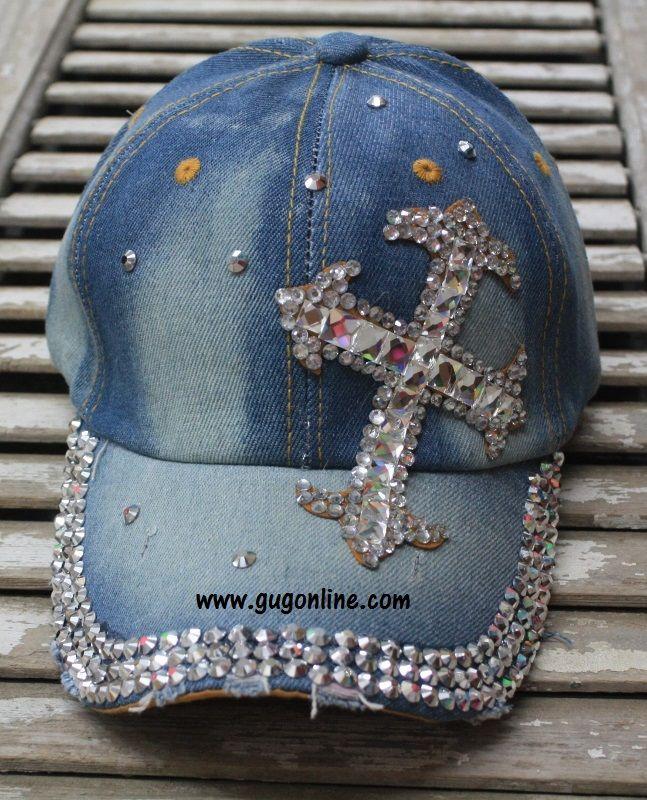 Denim Baseball Cap with Bling Crystal Cross $19.95 www.gugonline.com