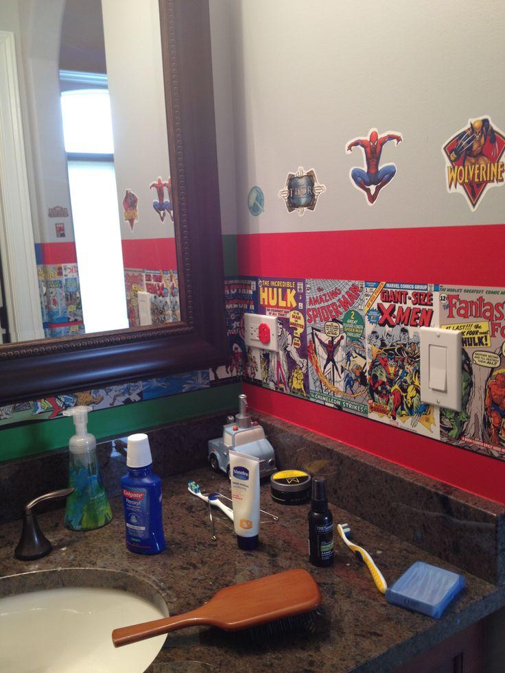 Superb Kids Superhero Bathroom Decor Part   12: Marvel Comics Theme    Bathroom. Superhero
