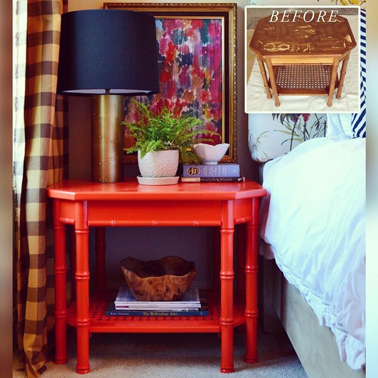 I really love the way @scoutandnimble transformed this bamboo side table using Amy Howard at Home…
