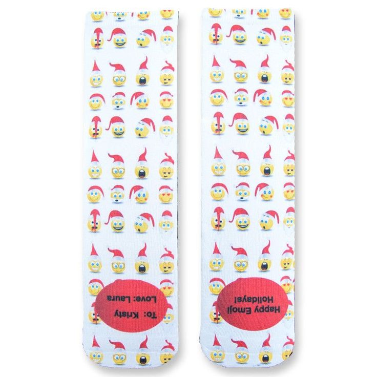 Full Print Santa Holiday Emoji Custom Socks - Adult Unisex Size fits Most