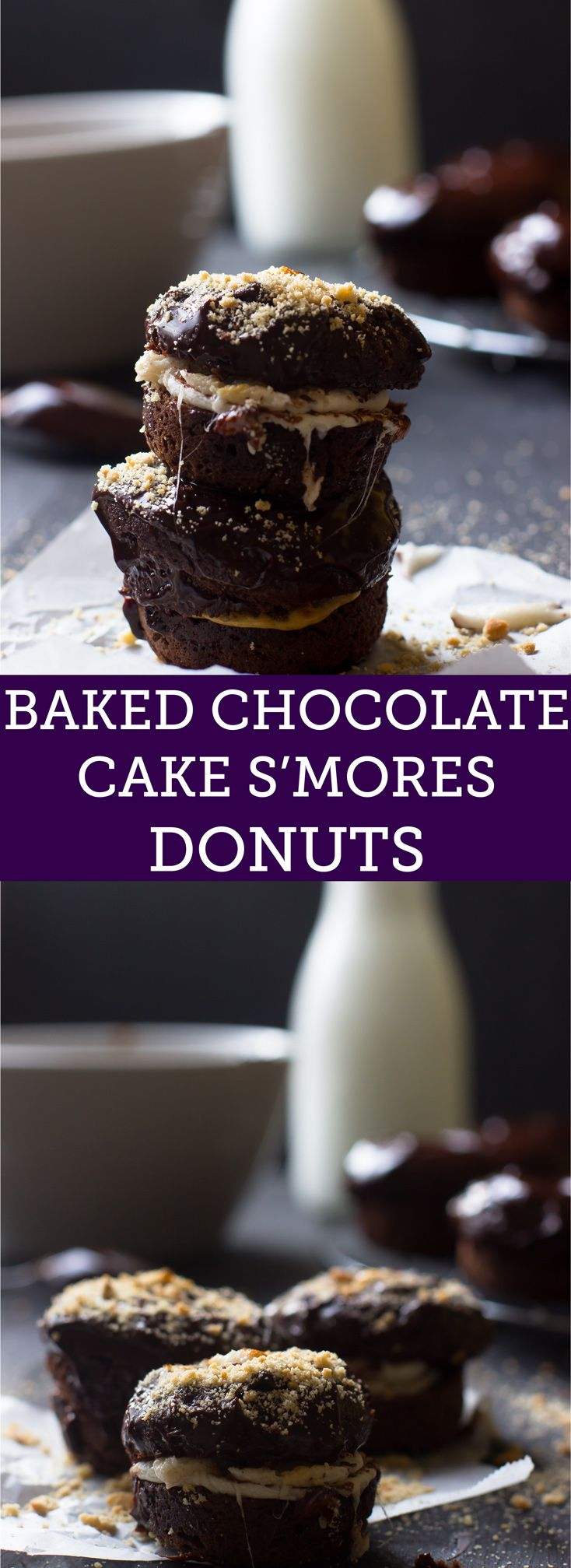 These Baked Chocolate Cake S'mores Donuts are a delicious gluten free chocolate donut sandwich with a toasted melty marshmallow and topped with a delicious chocolate glaze.