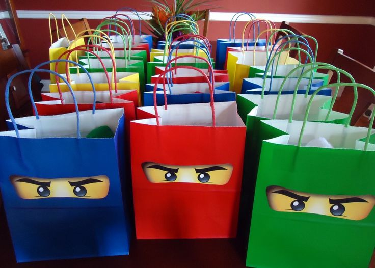 Ninjago Birthday Party - Goodie Bags with eyes                                                                                                                                                                                 More