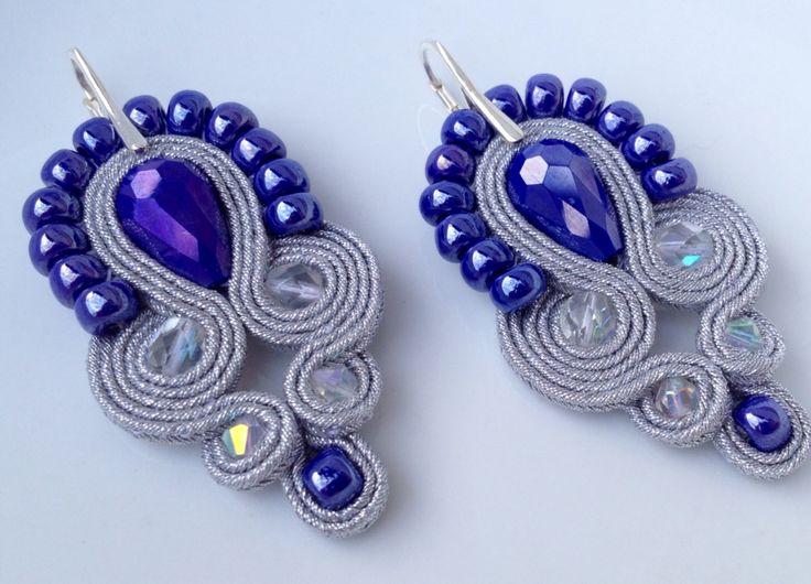 Soutache metal earring