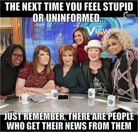 oh my God these have got to be the bitchiest most complaining women I have ever heard you've got a racist you've got an outstanding over spoken  redhead and then they've given a platform to women nobody's ever  heard of to give their opinions I don't watch this show but ran across it the other day they were complaining about Trump on a tweet he put out in their bitching and complaining we're  worse then the actual tweet I'm so sick of Hollywood thinking I need their opinion about everything