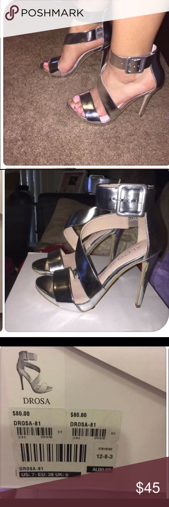 Brand new also metallic heel Beautiful Aldo metallic heels! I have had these for a while and just haven't got a chance to wear them, their is nothing wrong with them Aldo Shoes Heels