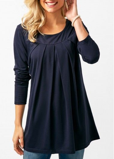 Long Sleeve Pleated Navy T Shirt on sale only US$28.74 now, buy cheap Long Sleeve Pleated Navy T Shirt at liligal.com