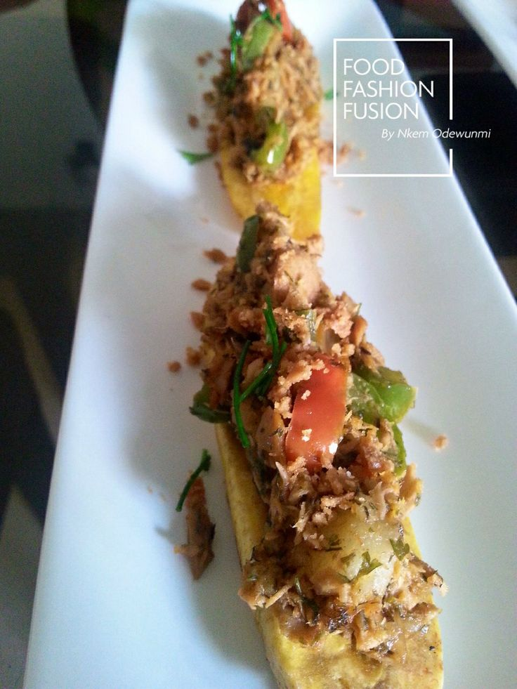 in every bite. Grilled plantain topped with tuna and crushed ...