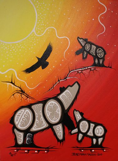 We Just Sold This Beautiful Piece, Soaring Eagle Over Mother Bear and Cub Designed By Jeremiah Mason #AboriginalArt #Art #CanadianArt