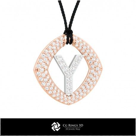 3D CAD Pendant With Letter Y