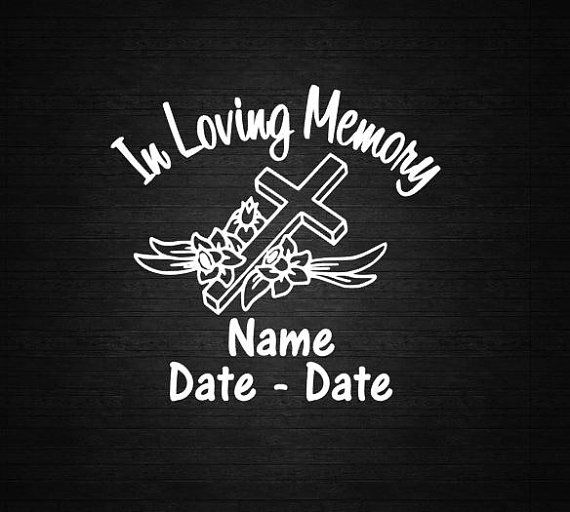 Floral cross in loving memory decal personalize vinyl decal car decal door decal computer decal wall decal in rememberance of decal