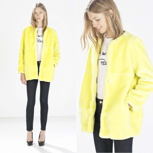 ZARA NEW COLLECTION 2014. NEON YELLOW SHORT FUR COAT JACKET.
