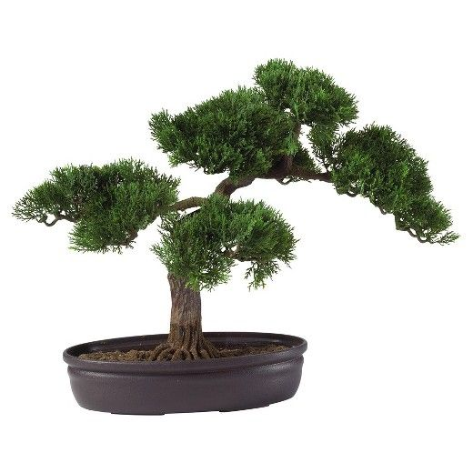 "Nearly Natural 16"" Cedar Bonsai Silk Plant : Target"