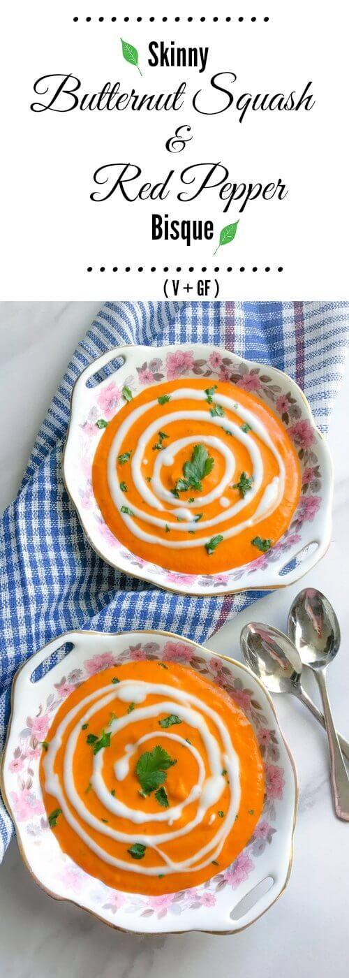 Skinny Butternut Squash and Red Pepper Bisque : #butternut #squash #bisque #soup