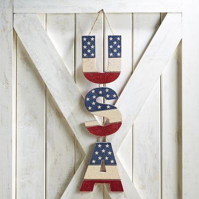 Wooden USA Door Decor