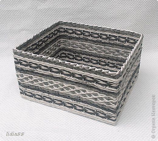 Поделка изделие Плетение короб в шкаф Трубочки бумажные фото 7