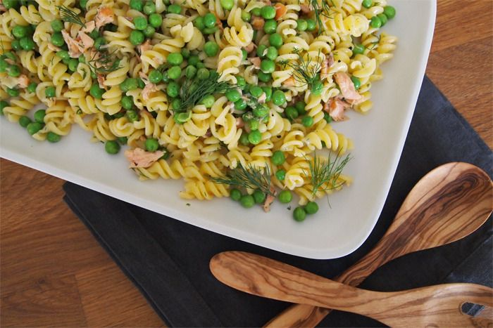 Salmon Pasta Salad with Mustard and Dill Dressing (gluten free, dairy free, egg free)