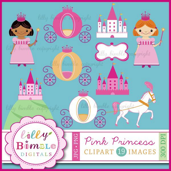 Create your own Princess themed birthday invitations and party paperie. Princess clipart in png and jpg format. Includes 19 images along with 8 1/2 x 11 pages to print out. Each item is saved individually as a 300 dpi png and a .jpg. The pngs have transparent backgrounds.