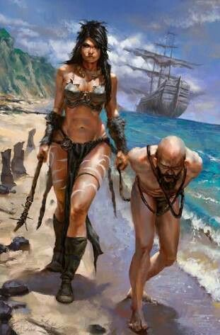 f Rogue Assassin Pirate w Captive coastal water ship