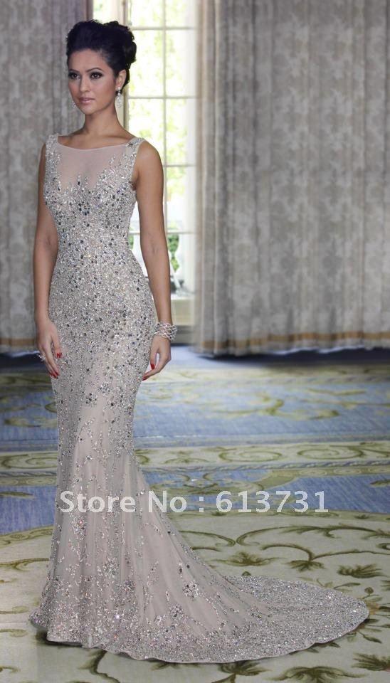 Cap Sleeve High Neck Heavy Beaded Silver Long Chiffon Mermaid Evening Dresses $216.00