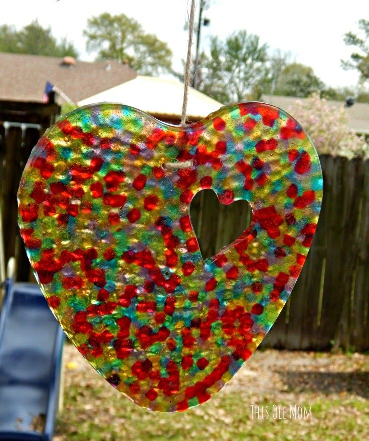 DIY: Sun Catchers . Heart Shape Sun Catcher would make a great Mother's Day Gift. www.thisolemom.com