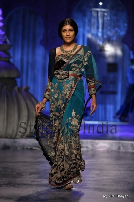 THAT blue is in the sari. JJ Valaya at Delhi Couture Week 2012