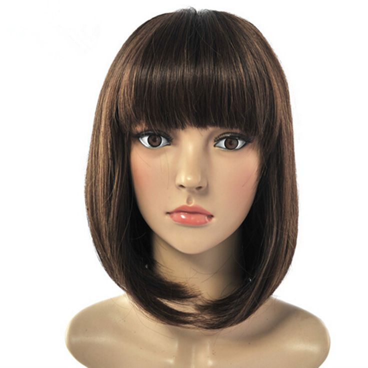 Hot Sell Fashion Heat Resistant Black Medium Length Straight Wigs Sexy Full Bangs Syntheitc Hairpieces for Women