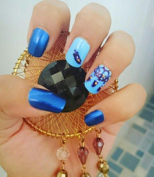 Atrapasueños! #nail #art #blue #azul #uñas